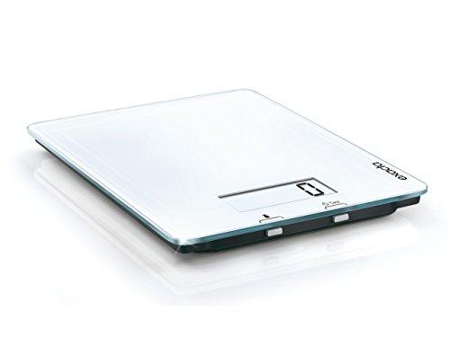 Exacta Pure Digitalwaage für max. 5 kg, digitale Küchenwaage mit großer Wiegefläche und Tara, praktische Haushaltswaage mit An- und Abschaltautomatik, weiß