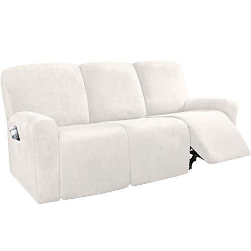 H.VERSAILTEX 8-Pieces Recliner Sofa Covers Velvet Stretch Reclining Couch Covers for 3 Cushion Sofa Slipcovers Furniture Covers Form Fit Customized Style Thick Soft Washable(Large, Ivory)