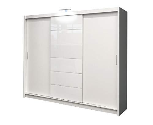 Kleiderschrank Malibu Schlafzimmer 3 Türiger Schwebetürenschrank Schrank mit Kleiderstange 8 Einlegeboden Spiegel und 2 Schubladen Weiß Schiebetür