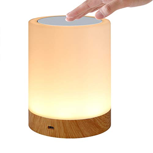Night Light, Lightimes Touch Lamp for Bedrooms Living Room Portable Table Bedside Lamps with USB Rechargeable Internal Battery Dimmable Warm White Light & Color Changing RGB … (Wood)