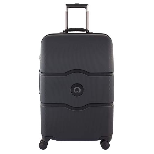 DELSEY Paris Chatelet Hard+ Hardside Luggage with Spinner Wheels, Black, Checked-Medium 24 Inch