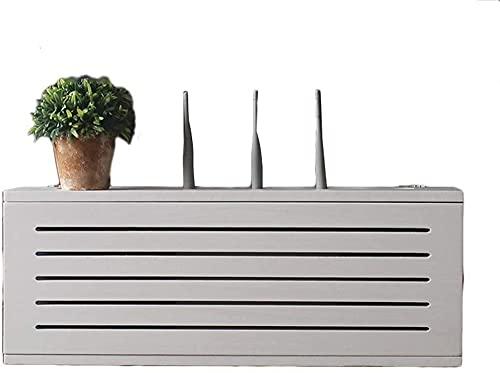 Módem WiFi Router Shelf Solid Wood Set-Top Box Blanco Caja de almacenamiento enrutador montado en la pared TELEVISOR Caja de oclusión de zócalo inferior Caja de oclusión WiFi inalámbrica Estante de en