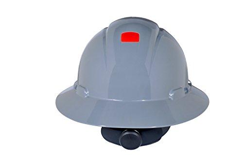 3M Full Brim Hard Hat H-808R-UV, Gray 4-Point Ratchet Suspension, with Uvicator