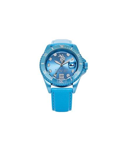 U.S. POLO ASSN. Herren Analog Quarz (Japanisch) Uhr mit Leder Armband USP4067AQ_AQ