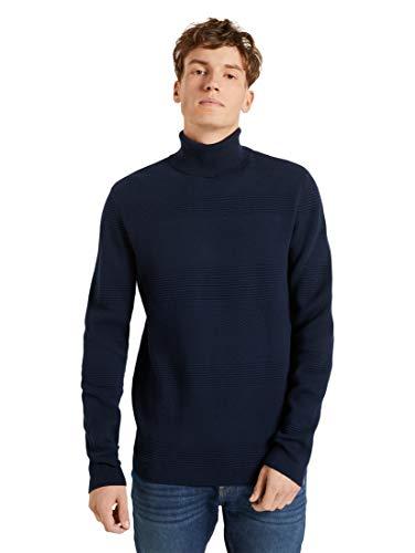 TOM TAILOR Denim Pullover & Strickjacken Rollkragenpullover mit Streifenstruktur Sky Captain Blue, XXL, 10668, 6000