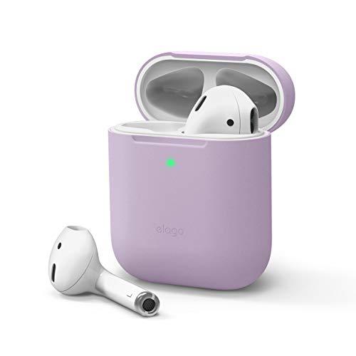 elago Skinny Hülle Dünne Hülle Schutzhülle Kompatibel mit Apple AirPods 1 und 2 - Hochwertiges Silikon, Kein Scharniere, LED Vorne Sichtbar, Unterstützt Kabelloses Laden (ohne Karabiner, Lavendel)