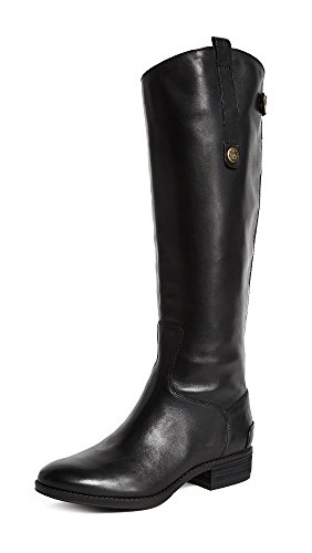 Sam Edelman Women's Penny Classic Equestrian Boot, Black Leather, 9 Wide US