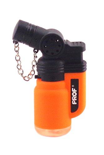 Briquet Tempête Chalumeau Torche Prof - Rechargeable gaz - Réglable (orange)