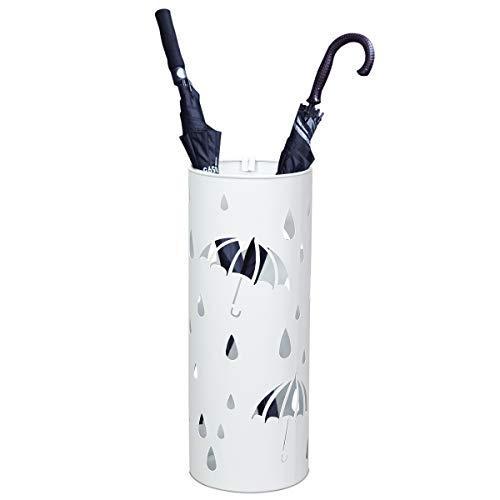 GOPLUS Schirmständer aus Metall, Regenschirmständer Farbewahl, Schirmhalter mit 2 Haken, Rund (Weiß)