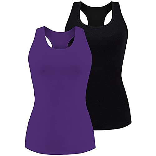 Charmo Camiseta sin mangas para mujer con sujetador de repisa, espalda cruzada, yoga, camiseta interior, negro y morado, L