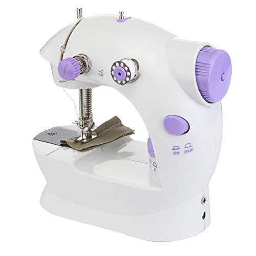 tonguk Máquina de coser de escritorio Eléctrica, Mini máquina de coser portátil Asimiento de la mano Doble velocidad Costura de cuero fácil con luz nocturna para principiantes
