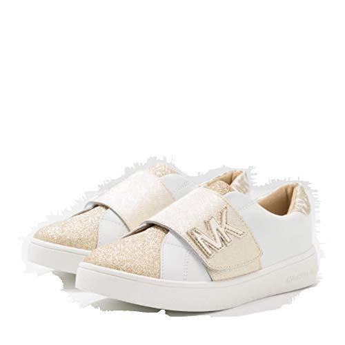 Michael Kors Mädchen Sneaker Low Turnschuhe Kinder Designer Schuhe ZIA-JEM Gleam Weiss/Gold (Numeric_35)