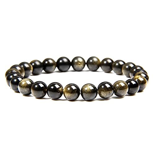 Pulsera de obsidiana de oro natural, joyería de moda para hombres, pulsera de cuentas de piedra redonda pulida de 8 Mm para mujeres, parejas, longitud 23Cm