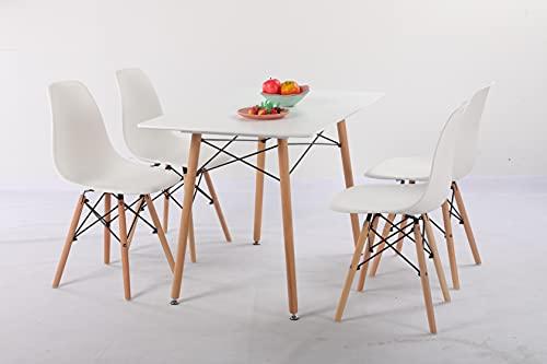 H.J WeDoo Esszimmergruppe mit Esstisch und 4 Essstühlen, Essgruppe Weiß Tisch mit 4 Weiß Stühlen...