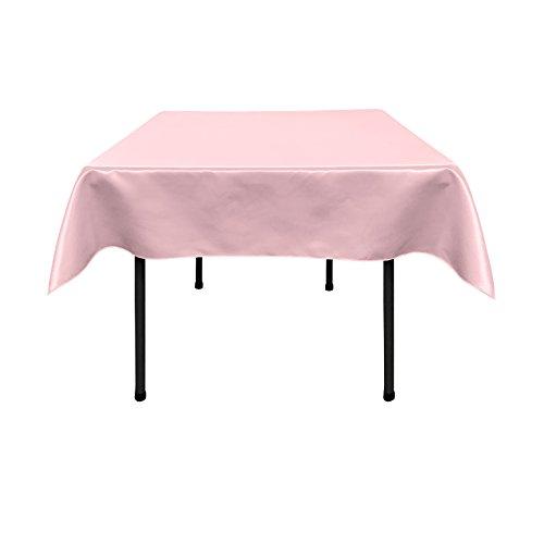 LA Linnen Bridal Satin tafelkleed, vierkant, 132 x 132 cm, roze licht