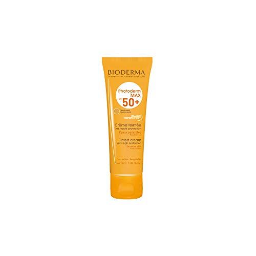 PHOTODERM MAX Crème teinte dorée SPF 50+ 40ml |Protection optimale UVA-UVB  – Active les défenses naturelles de la peau| Peaux sensibles ou intolérantes au soleil
