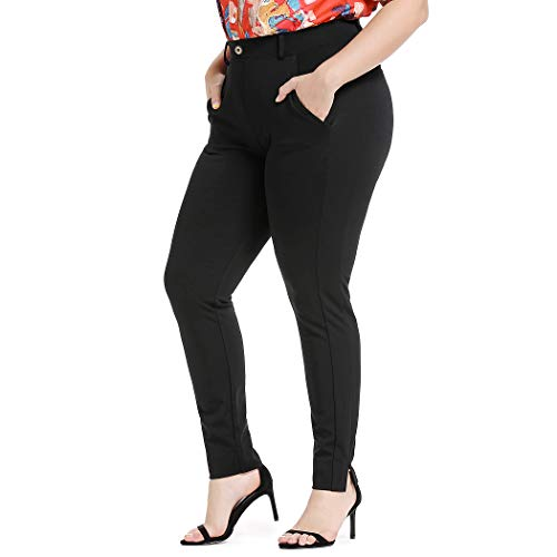 YOHOYOHA Women Plus Size Pencil Pants Wrinkle-Free Office Lady Fashion Stretch Pull-on Pants XL