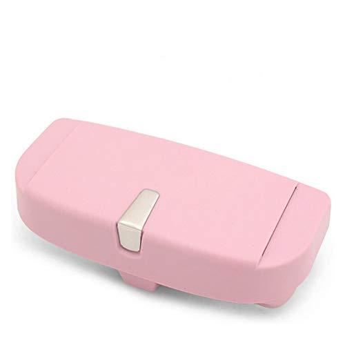 GUANGGUANG Heartwarming Shop Caja de Gafas Multifunción Magnético Coche Caja de Caja Almacenamiento Sunglass Soporte Sun Sun Tarjeta de Visera Bill Sunglass Storage Box (Color Name : Pink)