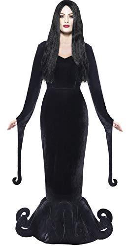 Damen morbide Geliebte Morticia Gothic-Hexe Ursula Octopus Halloween Kostüm Kleid Outfit 8-18 - Schwarz, 12-14