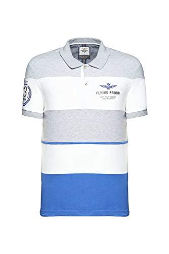 Polo de aviación militar PO1429P, gris-blanco-azul, de piqué, para hombre, camisa Grigio-bianco-azzurro L
