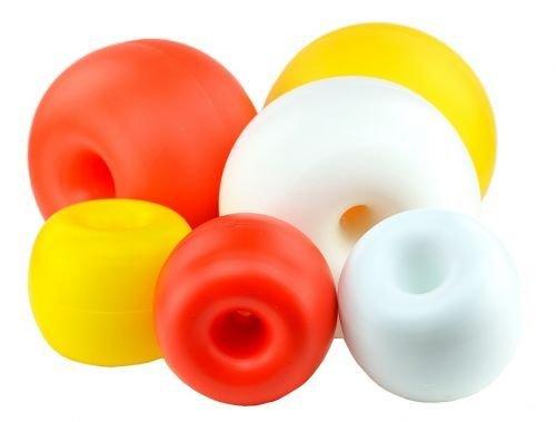 wellenshop Boje Schwimmkörper Hostalen-Kugel Donut für Schwimmleine Ø 190 mm Orange Kunststoff Polyethylen Markierungsboje