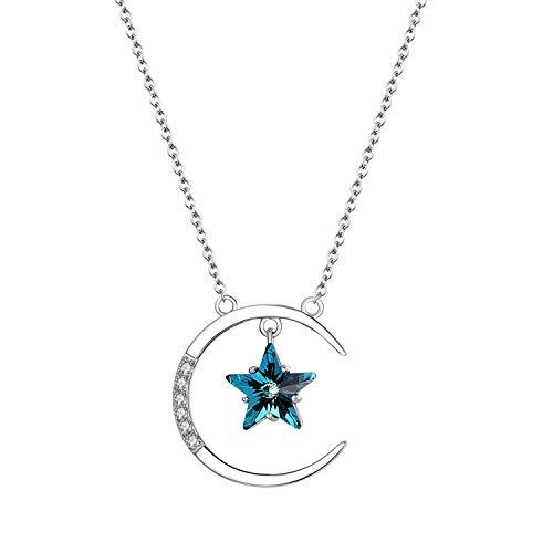 Aroncent Collar con cadena de plata 925 cristal Swaroski elementos azules Colgante de estrella de luna para mujer diseño mosaico con circonitas ideal sorpresa de San Valentín Navida