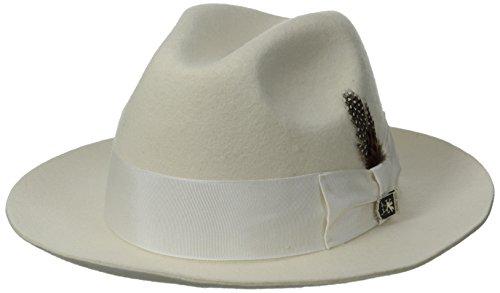 STACY ADAMS Men's Cannery Row Wool Felt Fedora Hat, Ivory, Medium