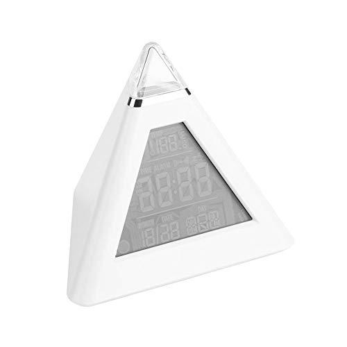 Raguso LED-färgändrande pyramid digital LCD väckarklocka nattduksbord väckarklocka nattlampa för barn skrivbord bord heminredning gåvor