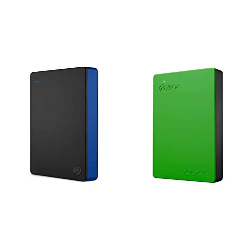 Seagate Game Drive 4TB External Hard Drive Portable HDD, Blue & Game Drive 4TB External Hard Drive Portable HDD - Designed for Xbox One, Green - 1 Year Rescue Service (STEA4000402)