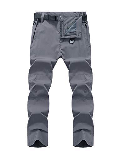 Mengmiao Herren Atmungsaktive Outdoorhose Winddicht Schnell Trocknende Softshell Hose Trekkinghose Grau L