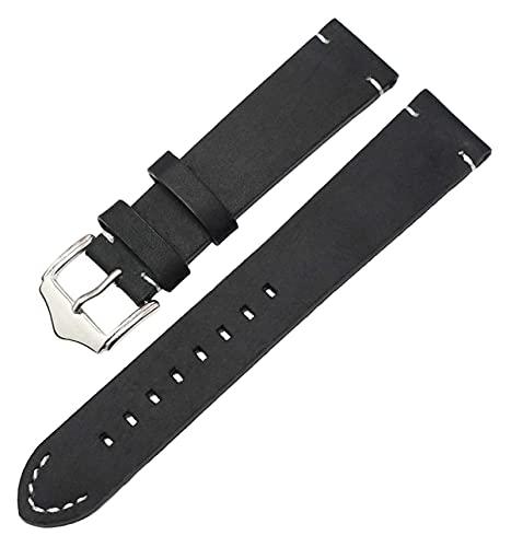 Lzpzz Correas de reloj de piel auténtica italiana, hecha a mano, 18 mm, 20 mm, 22 mm, hombre, color marrón oscuro, negro y negro