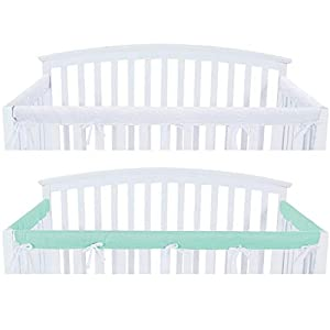 3 – Piece Crib Rail Cover Protector Safe Teething Guard Wrap for Standard Crib Rails, Fit Side and Front Rails, Aqua/White, Safe and Secure Crib Rail Cover.