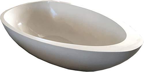 Guru-Shop Vrijstaande Terrazzo (Stone Terrazzo) Badkuip, Beige - Model 5, Ivoor, 49x100x180 cm, Wastafels, Wastafels Badkuipen