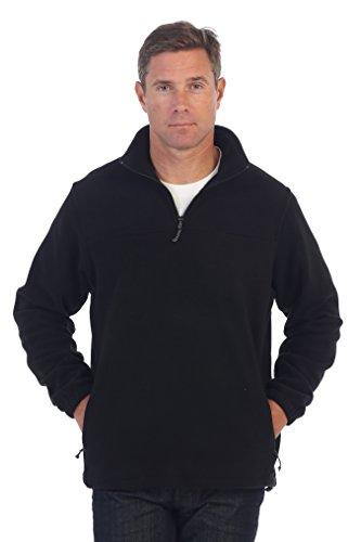 Gioberti Mens Half Zip Polar Fleece Jacket, Black, Medium