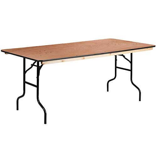 Flash Furniture 36#039#039 x 72#039#039 Rectangular Wood Folding Banquet Table with Clear Coated Finished Top