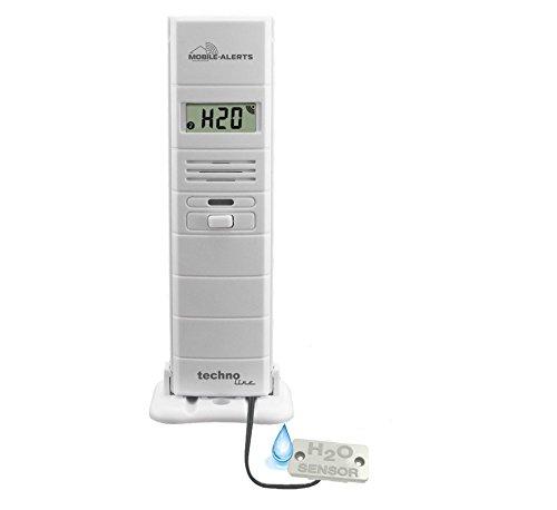 Mobile Alerts MA 10350 3 in 1 - Thermo-Hygrosensor und Wasserdetektor in einem, Alarmierung via Push-Mitteilung und Datenübertragung auf Ihr Smartphone, weiß, 5,5 x 3 x 5,5 cm