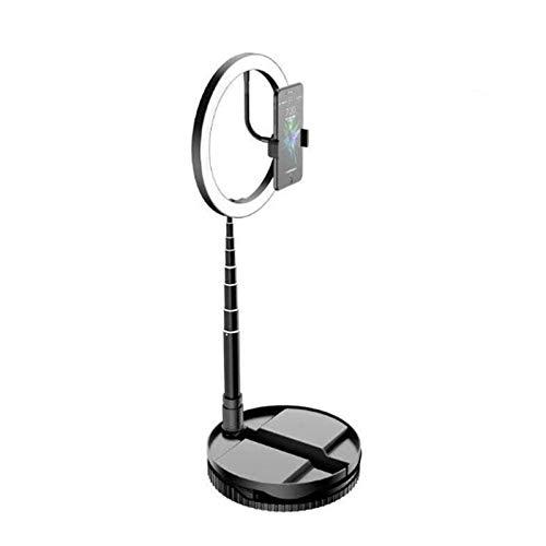 gao -bo Anillo LED para selfie, soporte para teléfono móvil, lámpara de iluminación telescópica, montaje profesional, luz de llenado directo, soporte para radiodifusión directa (color: negro)