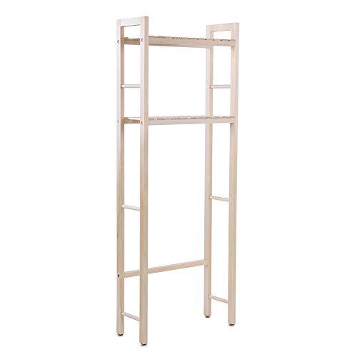 Estante para inodoro, estante para lavandería, estante de almacenamiento de construcción de madera de 2 niveles sobre inodoro organizador de baño compacto