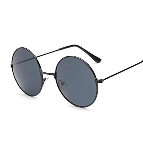 N\C Gafas de sol polarizadas, de estilo retro, de color negro, con círculos