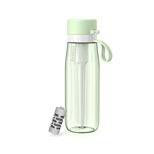 Philips Water GoZero Everyday Filter Water Bottle, BPA-Free Tritan Plastic, Designed with Philips Everyday Filter That fits in The Straw. Transform Tap Water into tastier Water,22 oz Green/22oz