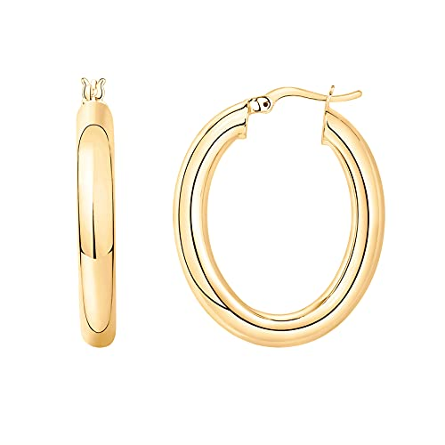 PAVOI 14K Gold Plated Sterling Silver Post Monet Oval Chunky Lightweight Hoop Earrings for Women in Yellow Gold