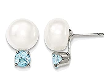Sterling Silver Freshwater Cultured White Button Pearl 10-11mm Solitaire Stud Earrings with Blue Topaz