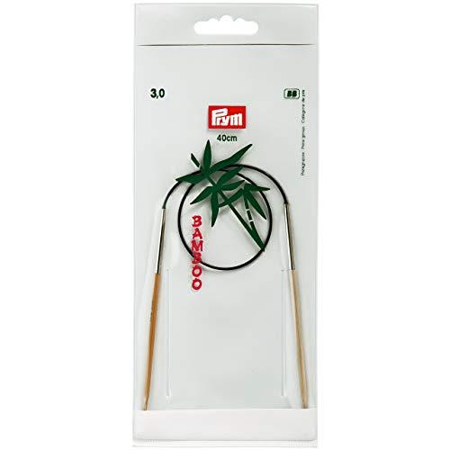 Prym 221524 Rundstricknadeln, 40 cm, 3,00 mm Rundstricknadel, Bambus, Natur, 3 mm