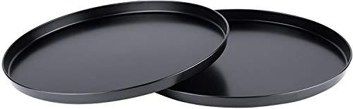 Pizzablech 2er Set Antihaft 28cm Rund Praktisches Backblech Pizza Flammkuchen Carbonstahl Pizzaform