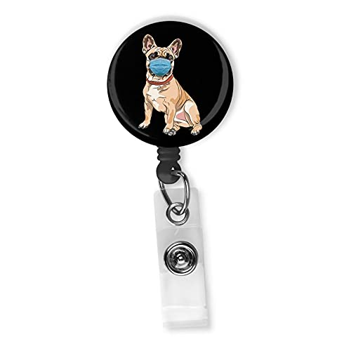 French Bulldog Frenchie With Face Mask Badge Reel ID Holder