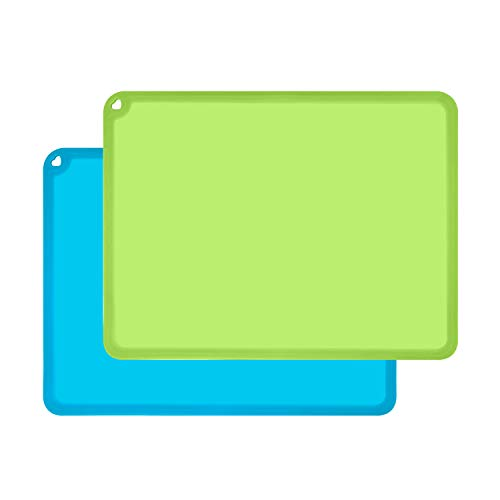 Silicone Kids Placemats, Non-Slip Silicon Placemats for Kids Baby Toddlers Childrens, Kids Portable Placemat for Dining Table, 2Pack, Blue/Green