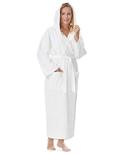 Arus Women's Hooded Classic Bathrobe Turkish Cotton Robe with Full Length Options (L/XL,White)