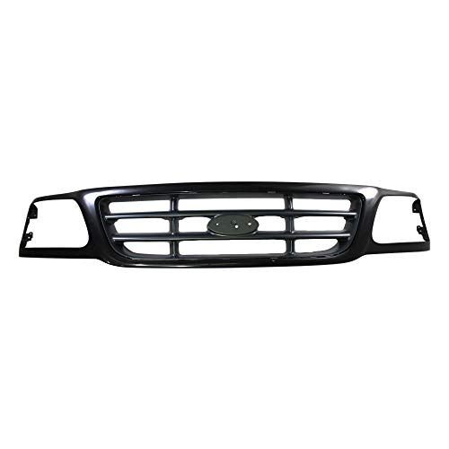 Perfit Liner New Front Black/Dark Gray Grille Grill Compatible With FORD F-150 F150 Heritage F-250 Lightduty Pickup Truck Fits Coupe 4WD Model FO1200376 3L3Z8200DA