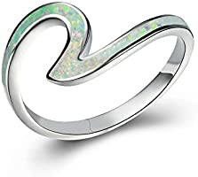 Blaike 925 Sterling Silver Wave Ring for Women, Blue Opal Wave Ring Size 5/6/7/8/9/10, Cubic Zirconia Rings Wave Ring...