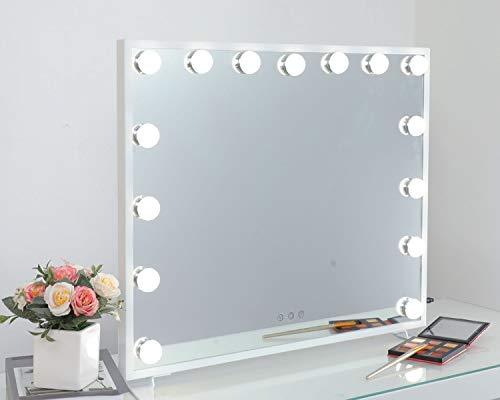 iCREAT Hollywood Schminkspiegel 60X50 cm 15 Glühbirnen beleuchtet groß Kosmetikspiegel Theaterspiegel 3 Lichtmodis Touchscreen Einstellbar Beleuchtung für Makeuplover im Schlafzimmer, Badezimmer